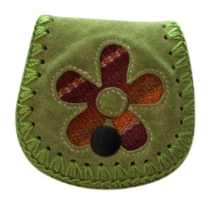 Leather daisy Coin Purse Keyfob