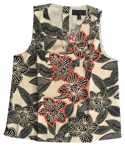 J.Crew Notched shell in embellished Polynesian floral Top Cream,black, with orange bead