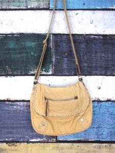 Fossil Grid Canvas Crossbody Messenger Handbag Bookbag Shoulder Bag