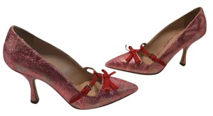 Miu Miu Lining Soles Glittery pink fabric and leather Pumps
