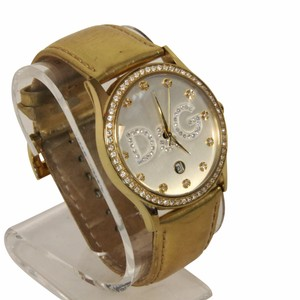 Dolce&Gabbana Dolce Gabbana D&G Metallic Gold Leather Wristwatch Swarovski Crystal