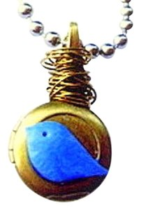 Other Handmade OOAK Vintage Blue Jay BiRD BRASS mini LOCKET Ball Chain Long Necklace