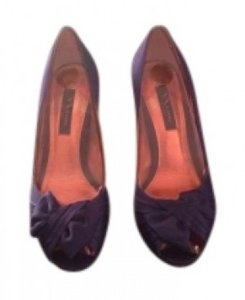Nina Shoes 'forbes' Peep Toe Satin Upper Synthetic Lining Leather Sole 3 Grape Pumps
