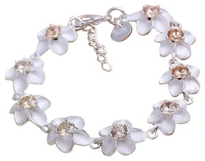 Other Sterling Silver & White ORCHID Flower Rhinestone BRACELET