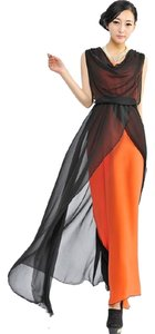 Black and Orange Maxi Dress by