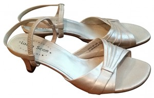 Laura Scott Prom Formal 5.5 Heels Heel Pump Show Dance Wedding Summer Spring Dressy Iridescent Quality cream Sandals