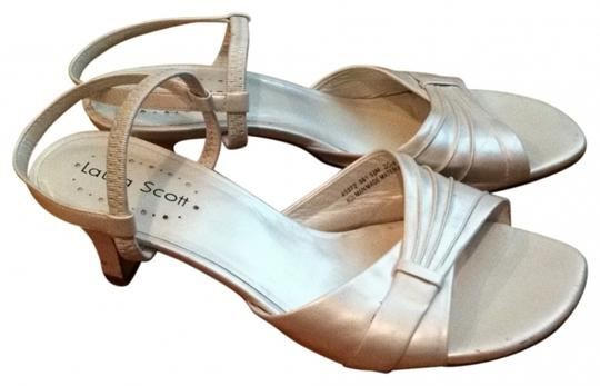 Laura Scott Prom Formal 5.5 Heels Heel Pump Show Dance Shower Wedding Summer Spring Dressy Iridescent Quality cream Sandals