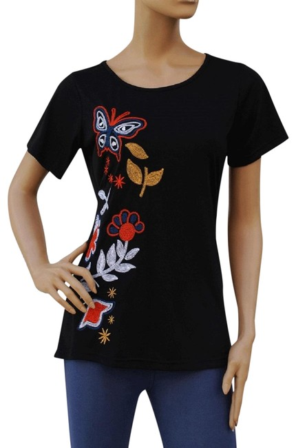 Preload https://img-static.tradesy.com/item/1496428/black-butterfly-and-flower-embroidered-top-stretch-fit-tee-shirt-size-8-m-0-2-650-650.jpg
