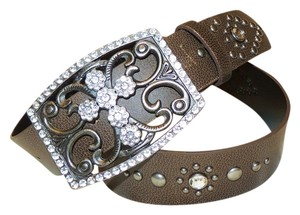 YMI Jeans YMI Rhinestone cross blingy brownish-black belt