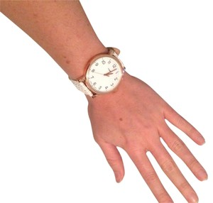 Timex Timex Watch - Rose Gold Hardware w/ White Basket Weave Strap