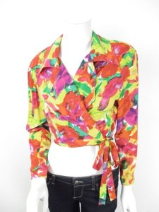 Henri Bendel Vintage Red Yellow Green Floral Silk Wrap Crop Top Multi-Color