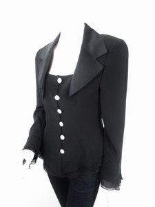 Saks Fifth Avenue Saks Fifth Avenue Vtg Silk Ruffle Gem Button Evening Formal Blazer Jacket