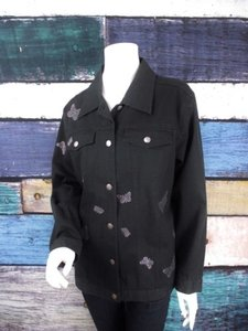 Quacker Factory Factory Qvc Butterfly Rhinestone Denim Jean Black Jacket