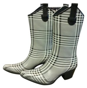 Corkys Rain Plaid And Rain Black/White Boots