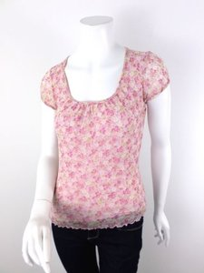 Weston Wear Anthropologie Nylon Mesh Floral Top Pink