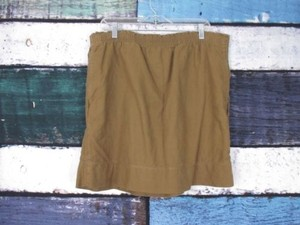 Eddie Bauer Green Elastic Waistband Cotton Linen Mini Skirt Brown