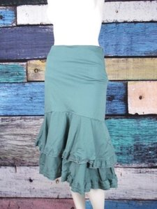Anthropologie Odille Ruffle Tiered Trumpet 0 Skirt Blue