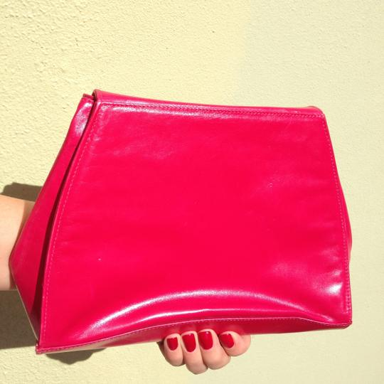Charles Jourdan Vintage Vintage Pink Hot Pink Leather Genuine Leather Pink Leather Handbag Shoulder Leather Trapeze Italian Made Fuchsia Clutch