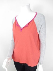 Splendid Anthropologie Coral Pink Gray Color Block Shirt Top Multi-Color