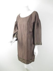 Ali Ro short dress Brown Anthropologie Shiny Jewel Gem Embellished Shift on Tradesy