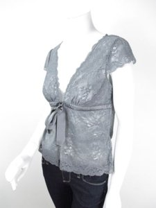 White House   Black Market Whbm Floral Lace Sheer Shirt Top Gray
