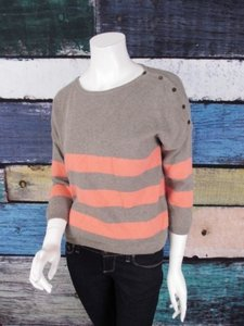 Gap Brown Coral Striped Cotton Cashmere Button Sweater