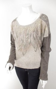 Miss Me The Buckle Brown Beige Rhinestone Boho Lace Sweater