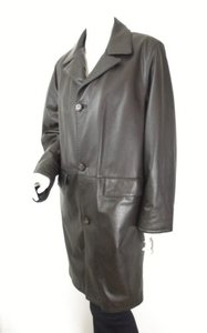 Bally Womens Leather Long Insulated Lined Leather Jacket Coat