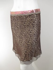 Marciano Leopard Cheetah Sequin Silk Nylon Mesh Skirt Brown