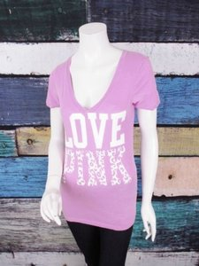 Victoria's Secret Pink Leopard Cheetah Love Pink Tee T Shirt Purple