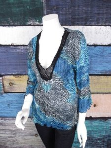 Alberto Makali Black Blue Leopard Crinkle Chiffon Beaded Tunic Top Blue, Black