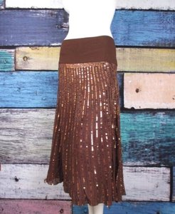 Basil & Maude Anthropologie Sequin Beaded Embellished Peasant Maxi Skirt Brown