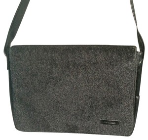 Mat and Nat Faux Fur Messenger Sleek Office Work Laptop Black Messenger Bag