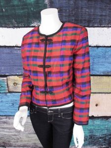 Maggy London Maggy London Red Purple Tartan Plaid Silk Blazer Jacket Blouse Vintage