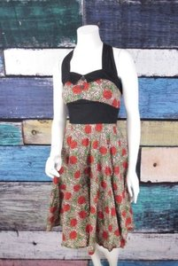 Hell Bunny short dress Brown, Black, Red Budding Starlet Modcloth Leopard Rose Rockabilly Pinup on Tradesy