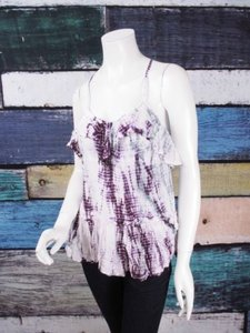Free People People White Tiered Tie Dye Beaded Embellished Top White, Purple