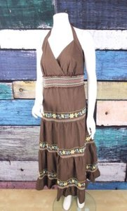 Torrid short dress Brown Floral Embroidered Cotton Halter Peasant Maxi 3x on Tradesy