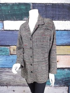 Chico's Gray Black Silk Blend Raw Slub Button Front Blazer 1 Multi-Color Jacket