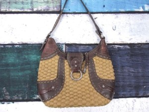 Brighton Woven Straw Croc Embossed Western Leather Handbag Shoulder Bag