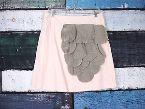 Anthropologie Floreat Rose Of Sharon Pink Ruffle Petal Mini 8 Skirt Pink, Gray