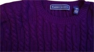 Karen Scott Seriously 80s 1980 Cable Knit Pads L 10 12 80s Pads Crew Neck L Large 10 12 Bright Violet Cable Knit Soft Fall Sweater