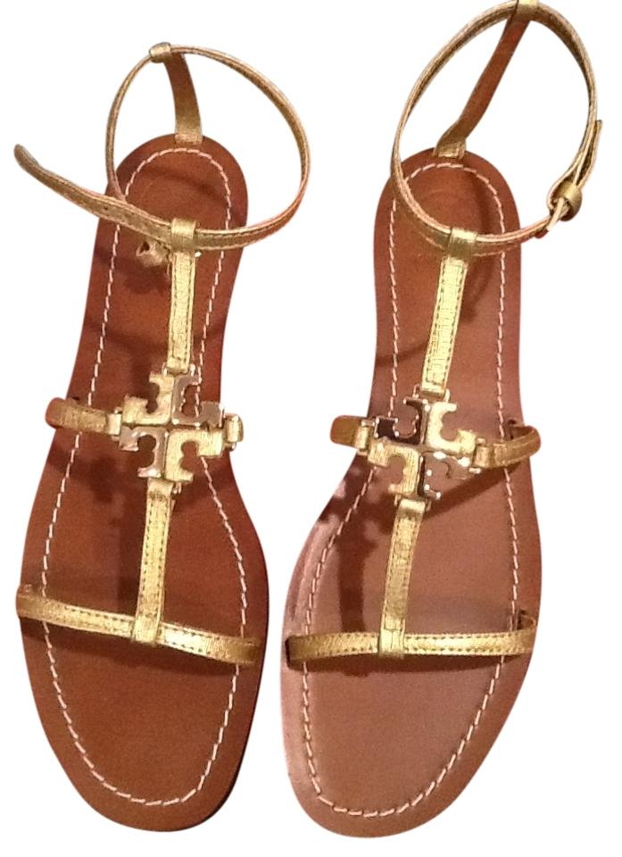 Tory Burch Gold In New In Gold Box Sandals 1d2669