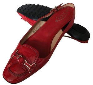 Tod's Patent Leather Slingbacks Red Flats