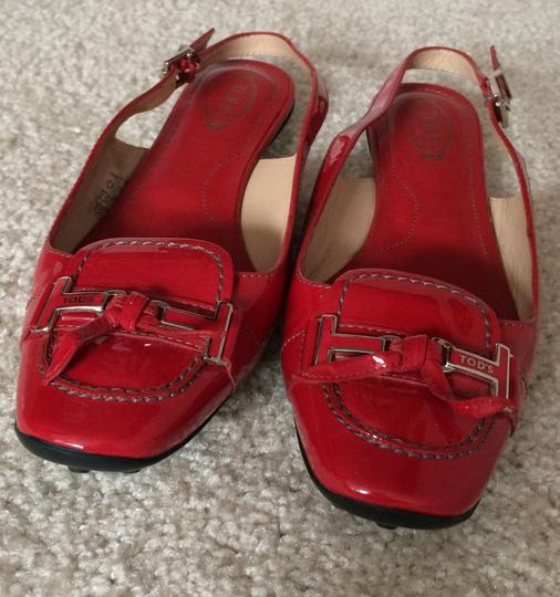 Tod's Patent Leather Slingbacks Clogs Mules Red Flats