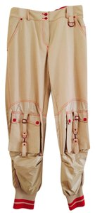 Dior John Galliano Harem Cargo Pants Khaki Gold Red