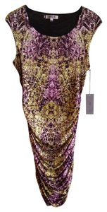 Jennifer Lopez Print Zipper Gold Hardware Dress