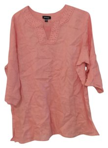 Avenue Linen Like New Eyelet Neckline Soft Spring Top light coral