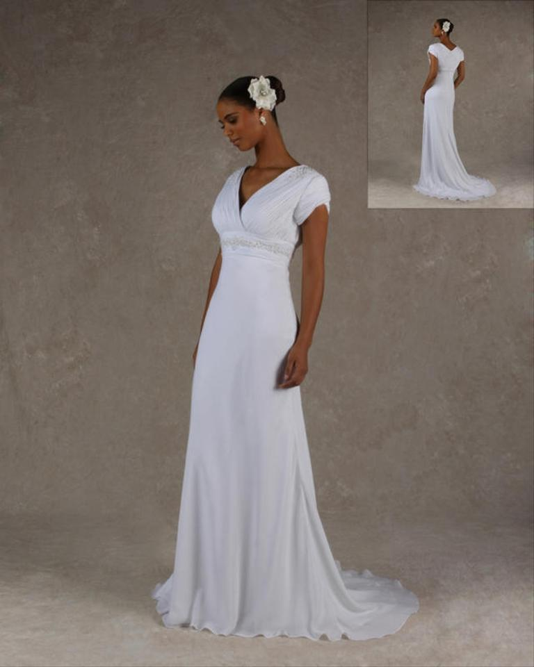 Ivory Chiffon Bridal Gown Modest Wedding Dress Size 8 (M) - Tradesy