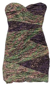 BCBGMAXAZRIA Strapless Ruched Colorful Dress