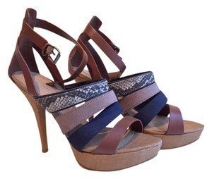 Charles & Keith Blue, Tan, Patterns Sandals